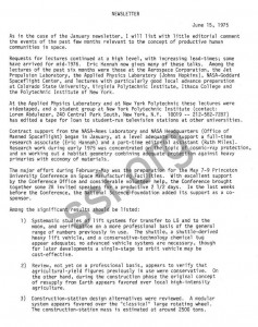 Gerard K. O'Neill Princeton Space Colonization newsletter June 15th 1975
