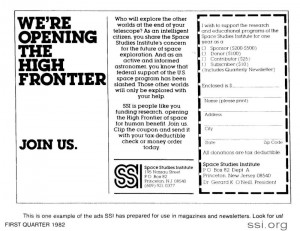 Space Studies Institute Q1 1982 Newsletter image SSI magazine ad