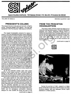 Space Studies Institute  Newsletter 1982 Q2