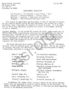 Space Studies Institute Subscribers Newsletter Spring 1979