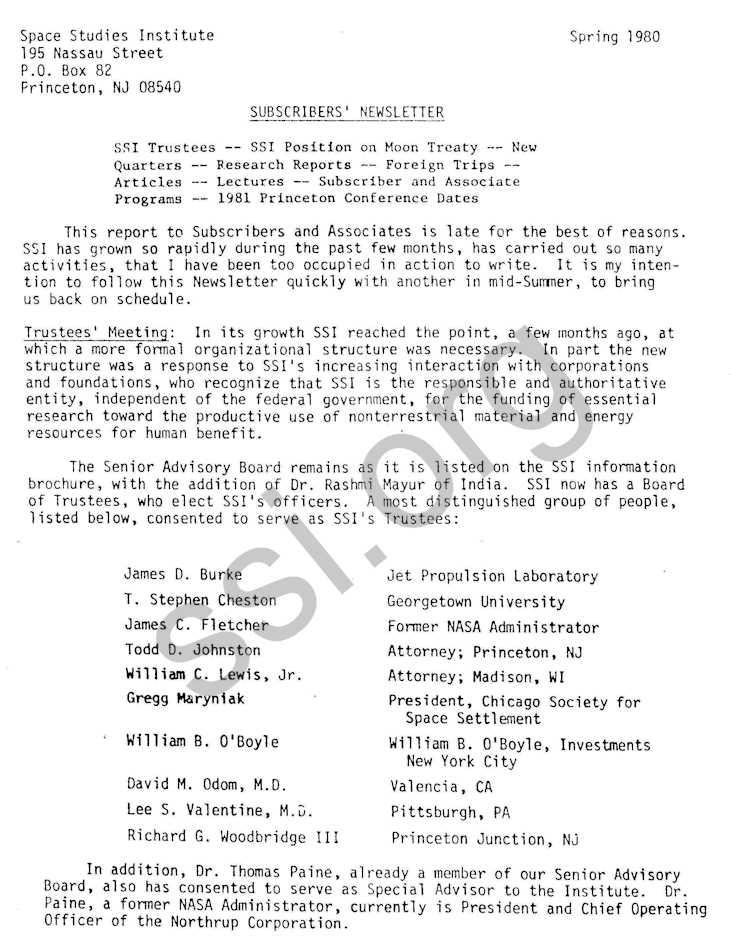 SSI Newsletters: Spring 1980 | Space Studies Institute