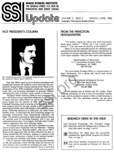 Space Studies Institute Newsletter 1984 March April