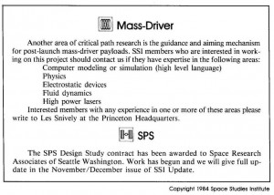 Space Studies Institute Newsletter 1984 SeptOct contents
