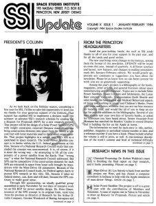 Space Studies Institute  Newsletter 1984 Jan-Feb