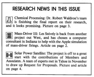 Space Studies Institute Newsletter 1984 JanFeb contents