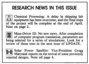 Space Studies Institute Newsletter 1984 MayJune contents