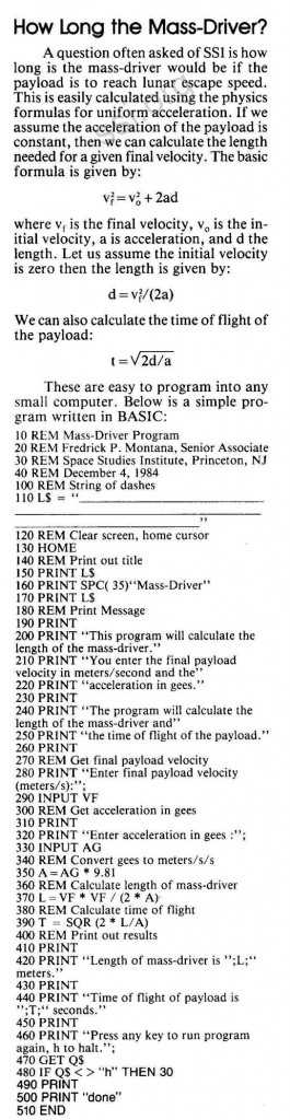 Space Studies Institute Newsletter 1985 JanFeb mass driver program