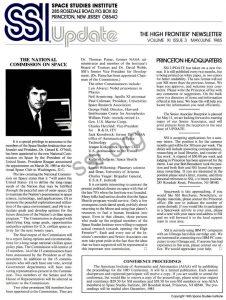 Space Studies Institute Newsletter 1985 MayJune cover