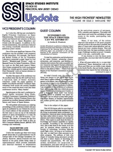 Space Studies Institute  Newsletter 1987 May June cover