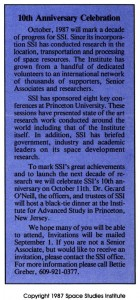 Space Studies Institute Newsletter 1987 July August image 1