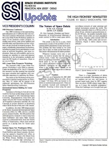 Space Studies Instittue Newsletter 1989 MarApr cover