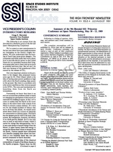 Space Studies Institute Newsletter 1989 July August cover