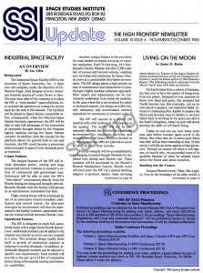 Space Studies Institute  Newsletter 1985 NovDec cover
