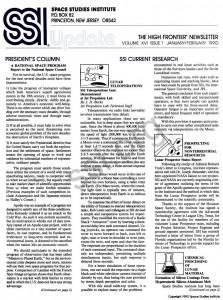 Space Studies Institute Newsletter 1990 JanFeb cover