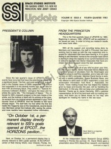 Space Studies Institute Newsletter 1983 Q4