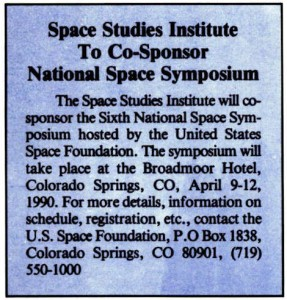 Space Studies Institute  Newsletter 1990 janFeb image 8