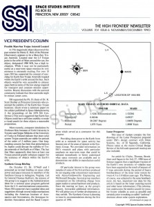 Space Studies Institute Newsletter 1990 NovDec cover