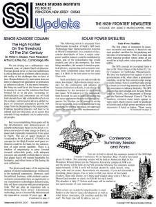 Space Studies Institute Newsletter 1992 MarApr cover