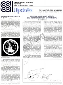 Space Studies Institute Newsletter 1994 JanFeb cover