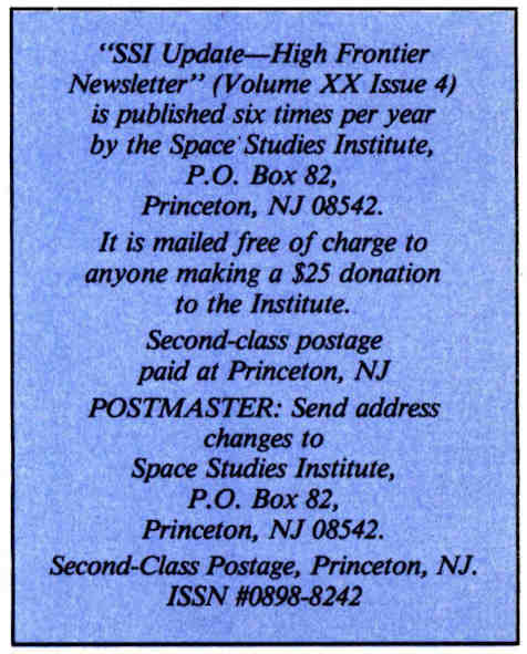 Space Studies Institute  Newsletter 1994 Jul-Aug post office info image