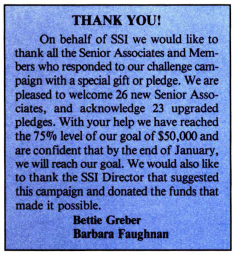 Space Studies Institute Newsletter 1995 Jan-Feb image 5 -  SA donations