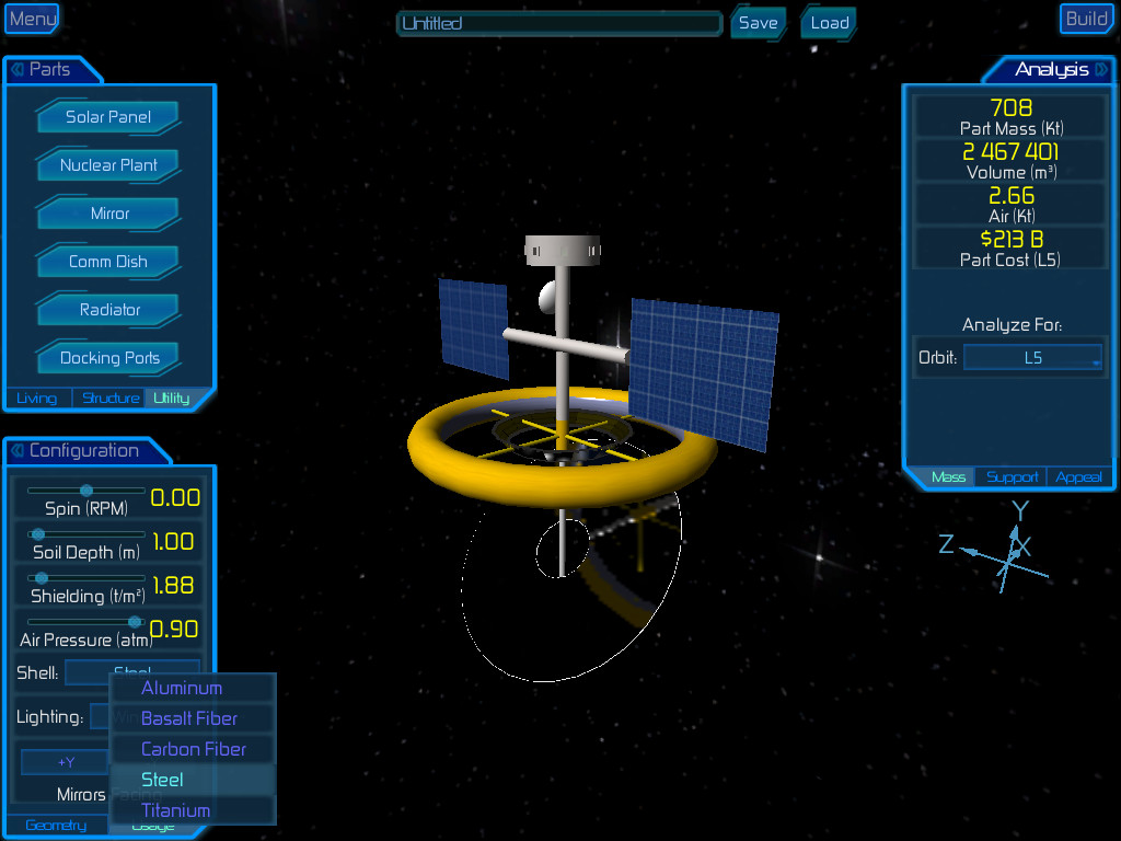 High Frontier Simulation Design Mode screen shot