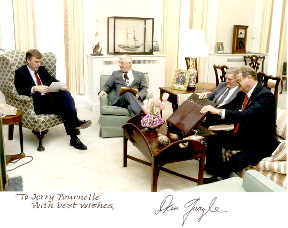 Briefing Vice President Dan Quayle, 1989, with the late General Daniel Graham and the late Maxwell Hunter II.