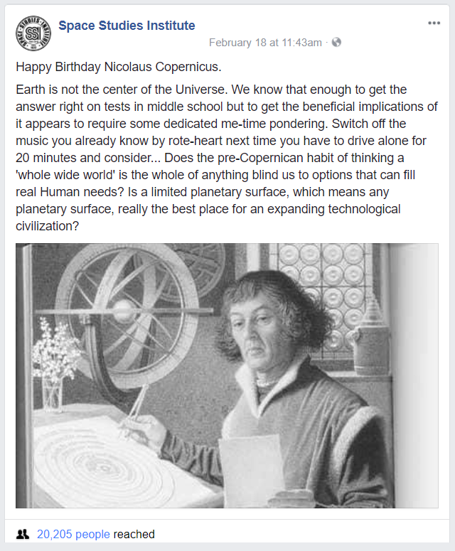 SSI remembers the birthday of Nicolaus Copernicus