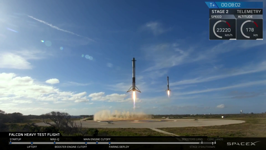 From  the SpaceX YouTube Feed of the Falcon Heavy Test Launch.  February 6th, 2018